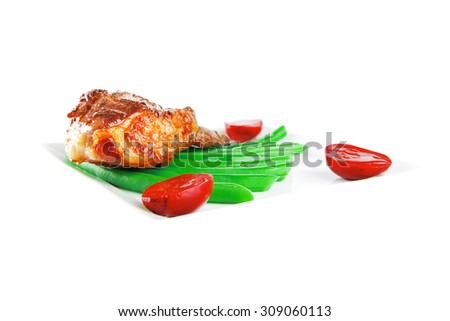 roasted beef meat served with beans on plate - stock photo