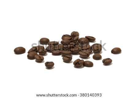 roasted brown coffee beans isolated on white - stock photo