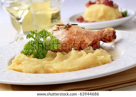 Roasted chicken and mashed potato - stock photo