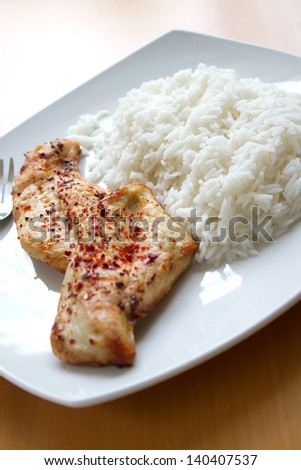 Roasted Chicken Breast and rice - stock photo