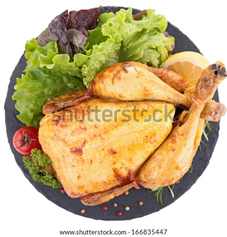 roasted chicken isolated - stock photo