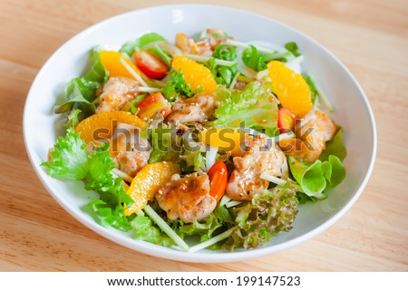 roasted chicken salad with sesame dressing - stock photo