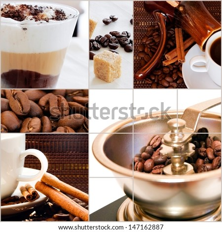 roasted coffee beans and ready coffee drinks - stock photo