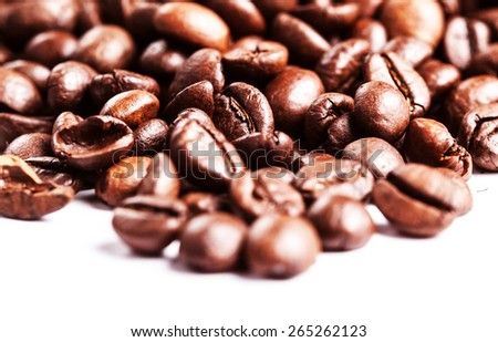 Roasted Coffee Beans background texture isolated on white background. Coffee. Coffee Espresso. - stock photo
