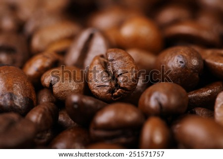 roasted coffee beans background with focus foreground - stock photo