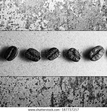 Roasted Coffee Beans on  texture, monotone color - stock photo