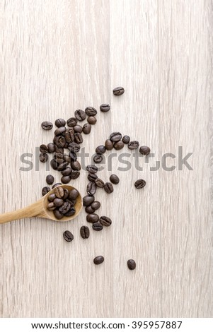 Roasted coffee beans on the table. From above - stock photo