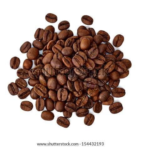 Roasted coffee beans pile from top on white background - stock photo