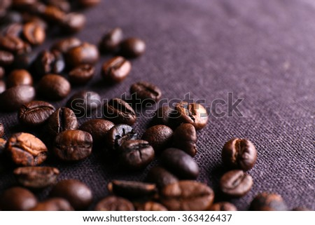 Roasted coffee grains, close-up - stock photo