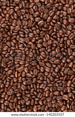 Roasted columbian coffee, toasted for espresso - stock photo