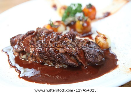 Roasted duck fillet with berry sauce - stock photo