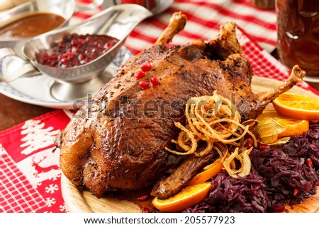 roasted duck on Christmas table - stock photo