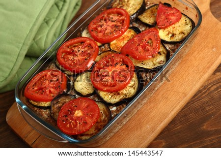 Roasted Eggplant with Tomato and Buckwheat Groats - stock photo