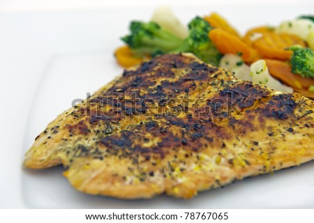Roasted fillet of salmon served with vegetables. Isolated on the white background. - stock photo
