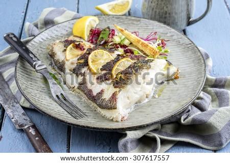 roasted halibut - stock photo