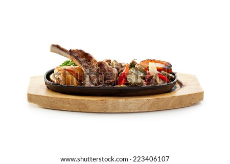 Roasted Lamb Chops with Potato and Vegetables - stock photo