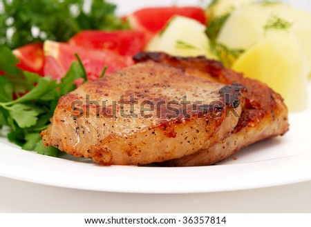 roasted meat with tomatoes and potatoes on white plate - stock photo