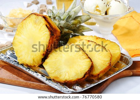 roasted pineapple - stock photo