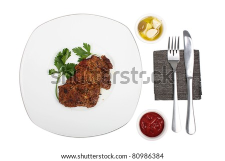 Roasted Pork Chops. Isolated with clipping path. - stock photo