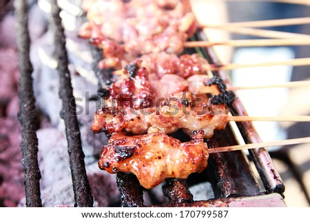 roasted pork on grill - stock photo