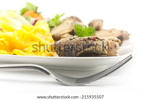 Roasted pork rubbed in pepper with scalloped potatoes au gratin and a healthy salad - stock photo