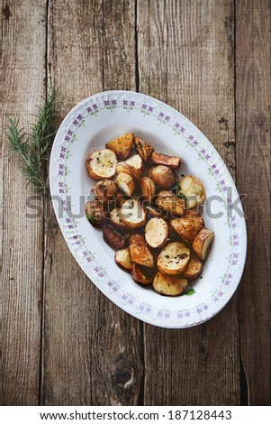Roasted potatoes. Healthy vegetarian food. Baked vegetables. - stock photo