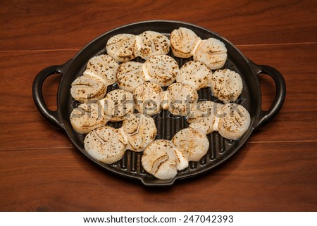 Roasted scallop - stock photo