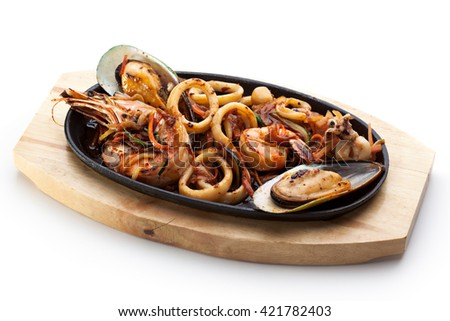 Roasted Seafoods - Shrimps, Mussels and Calamari Rings - stock photo