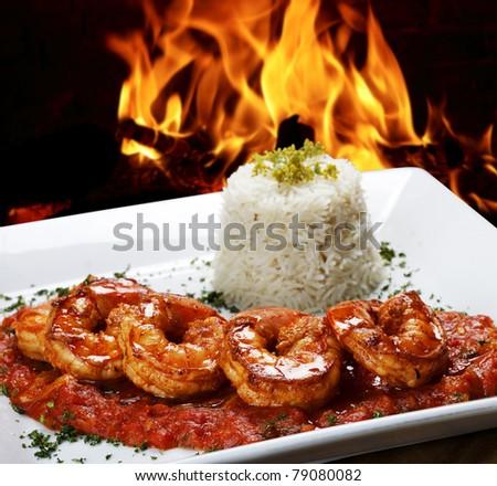 roasted shrimp - stock photo