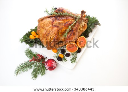Roasted stuffed turkey garnished with fresh fruits and herbs for holiday dinner. - stock photo