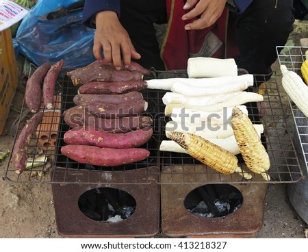 roasted sweet potatoes in Food market in laos - stock photo