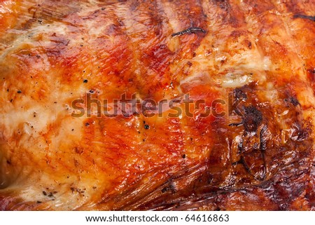 roasted turkey texture - stock photo