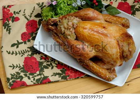 Roasted Turkey with lime on a table, Selective focus - stock photo