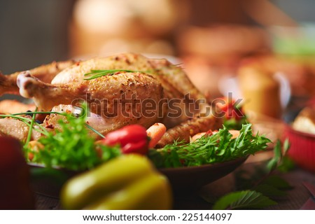 Roasted turkey with vegs and greenery - stock photo