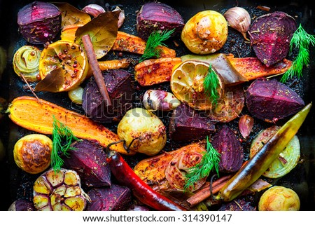 Roasted vegetables, closeup view - stock photo