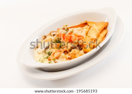 roasted vegetables with meat - stock photo