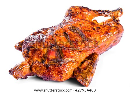 Roasted Whole Duck in honey mustard soy glaze on a white background, close-up - stock photo