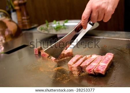 roasting teppanyaki - stock photo