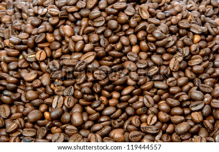 Roated coffee beans background - stock photo