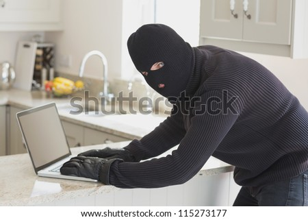 Robber at laptop in unknown home - stock photo