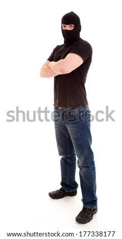 robber, full lenght, on the white background - stock photo