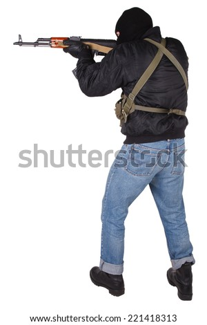 Robber with AK 47 isolated on white background - stock photo