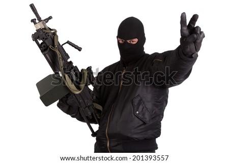 robber with machine gun isolated - stock photo