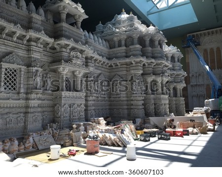 ROBBINSVILLE, NJ - JUL 11: The Akshardham temple in Robbinsville, New Jersey, as seen on Jul 11, 2015. Construction will be completed by 2017, making it the largest Hindu temple in the world in acres. - stock photo