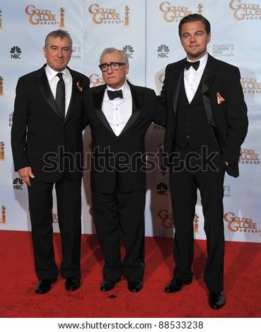 Robert De Niro (left), Martin Scorsese & Leonardo DiCaprio at the 67th Golden Globe Awards at the Beverly Hilton Hotel. January 17, 2010  Beverly Hills, CA Picture: Paul Smith / Featureflash - stock photo