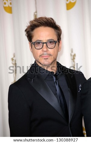 Robert Downey Jr. at the 85th Annual Academy Awards Press Room, Dolby Theater, Hollywood, CA 02-24-13 - stock photo