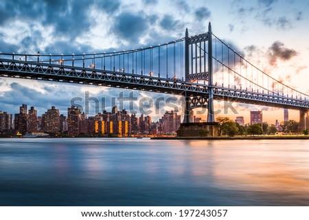 Robert F. Kennedy Bridge (aka Triboro Bridge) at sunset, in  Queens, New York - stock photo