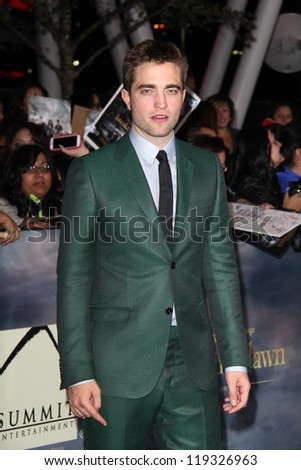 "Robert Pattinson at ""The Twilight Saga: Breaking Dawn - Part 2"" World Premiere, Nokia Theatre, Los Angeles, CA 11-12-12 - stock photo"