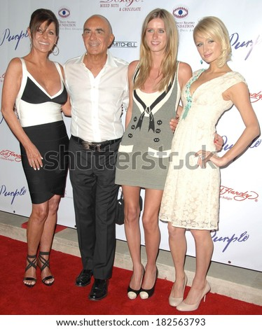 Robert Shapiro, Nicky Hilton, Paris Hilton at The Brent Shapiro Foundation for Alcohol and Drug Awareness Sober Day Dinner and Benefit, private residence, Beverly Hills,, May 17, 2008 - stock photo