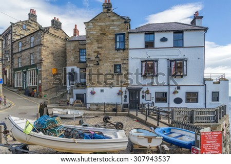 Robin Hoods Bay in north Yorkshire - stock photo
